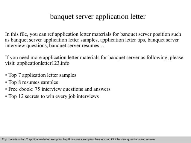 banquet server application letter in this file you can ref application letter materials for banquet - Banquet Server Cover Letter