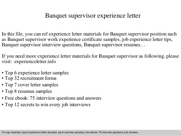 banquet supervisor experience letter