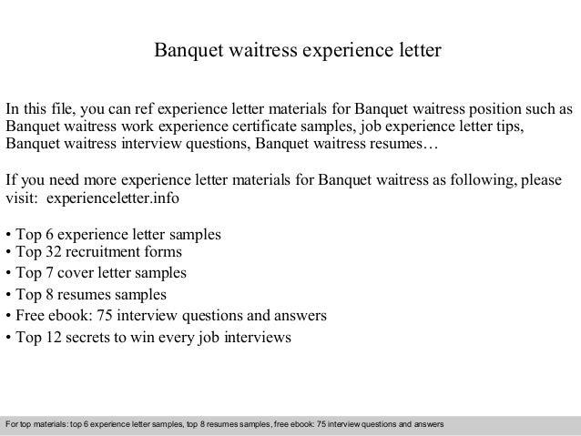 waitress experience