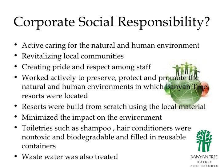 Corporate social responsibility banyan tree holdings
