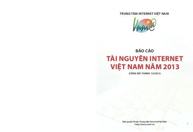 Bao cao tai nguyen internet 2013 - VNNIC Slide 2
