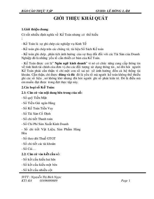 BÁO CÁO THỰC TẬP GVHD: LÊ HỒNG LẮM SVTT : Nguyễn Thị Bích Ngọc KT1-K4 01696690609 Page 1 GIỚI THIỆU KHÁI QUÁT 1.Giới thiệu...
