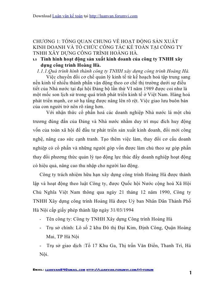 Download Luận văn kế toán tại http://luanvan.forumvi.comCHƯƠNG 1: TỔNG QUAN CHUNG VỀ HOẠT ĐỘNG SẢN XUẤTKINH DOANH VÀ TỔ CH...