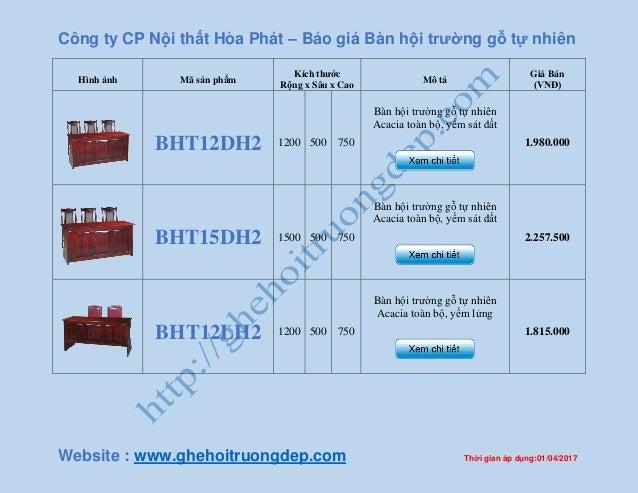 Công ty CP Nội thất Hòa Phát – Báo giá Bàn hội trường gỗ tự nhiên Website : www.ghehoitruongdep.com Thời gian áp dụng:01/0...