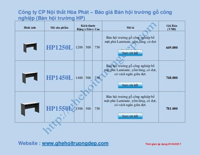 Công ty CP Nội thất Hòa Phát – Báo giá Bàn hội trường gỗ công nghiệp (Bàn hội trường HP) Website : www.ghehoitruongdep.com...