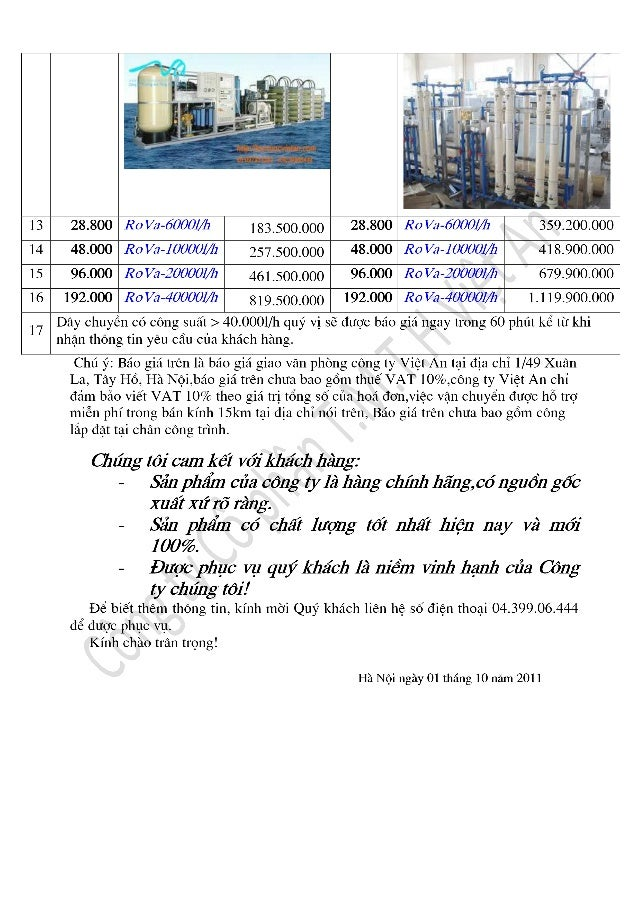 Báo giá dây chuyền sản xuất nước khoáng công ty Việt An
