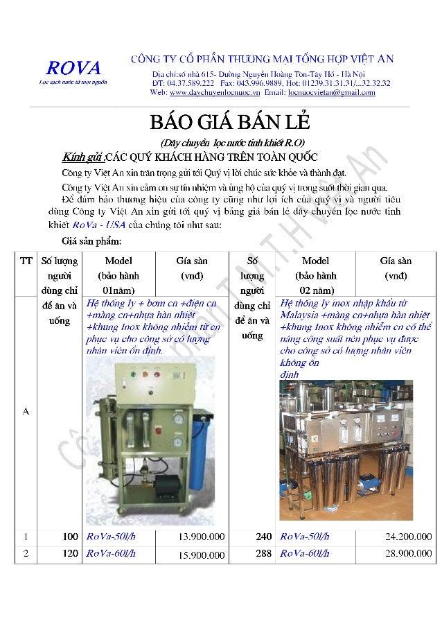 Báo giá dây chuyền lọc nước tinh khiết công ty Việt An
