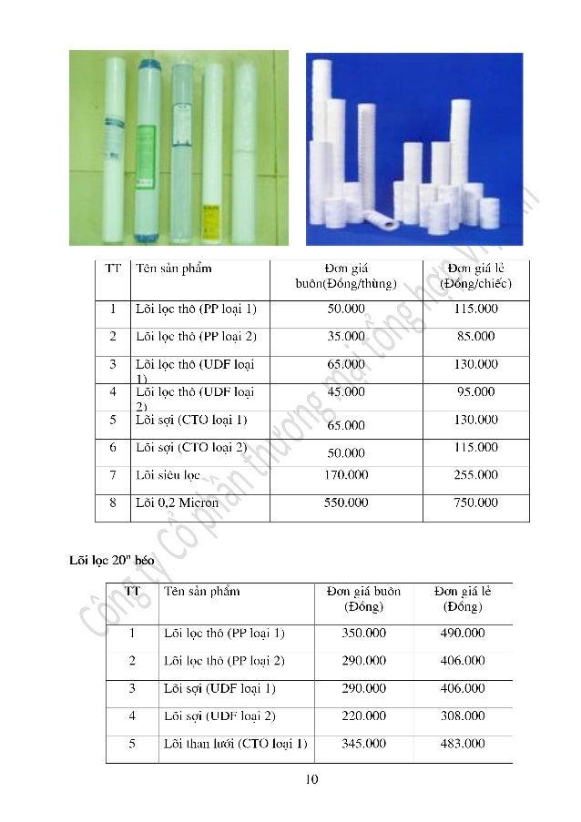 Báo giá linh kiện dây chuyền nước công nghiệp