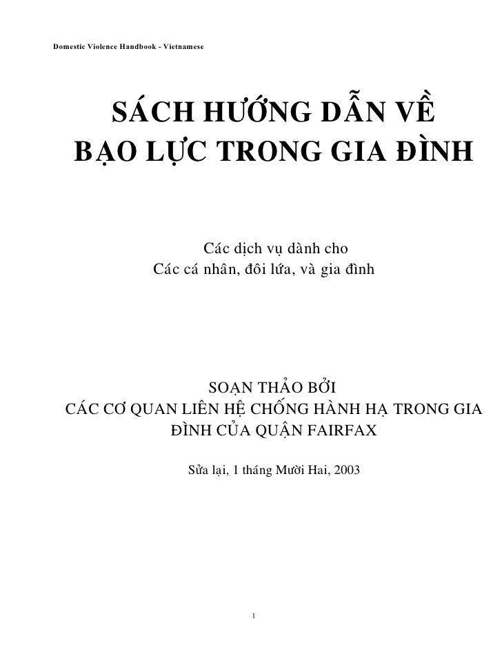 Domestic Violence Handbook - Vietnamese            SAÙCH HÖÔÙNG DAÃN VEÀ      BAÏO LÖÏC TRONG GIA ÑÌNH                    ...