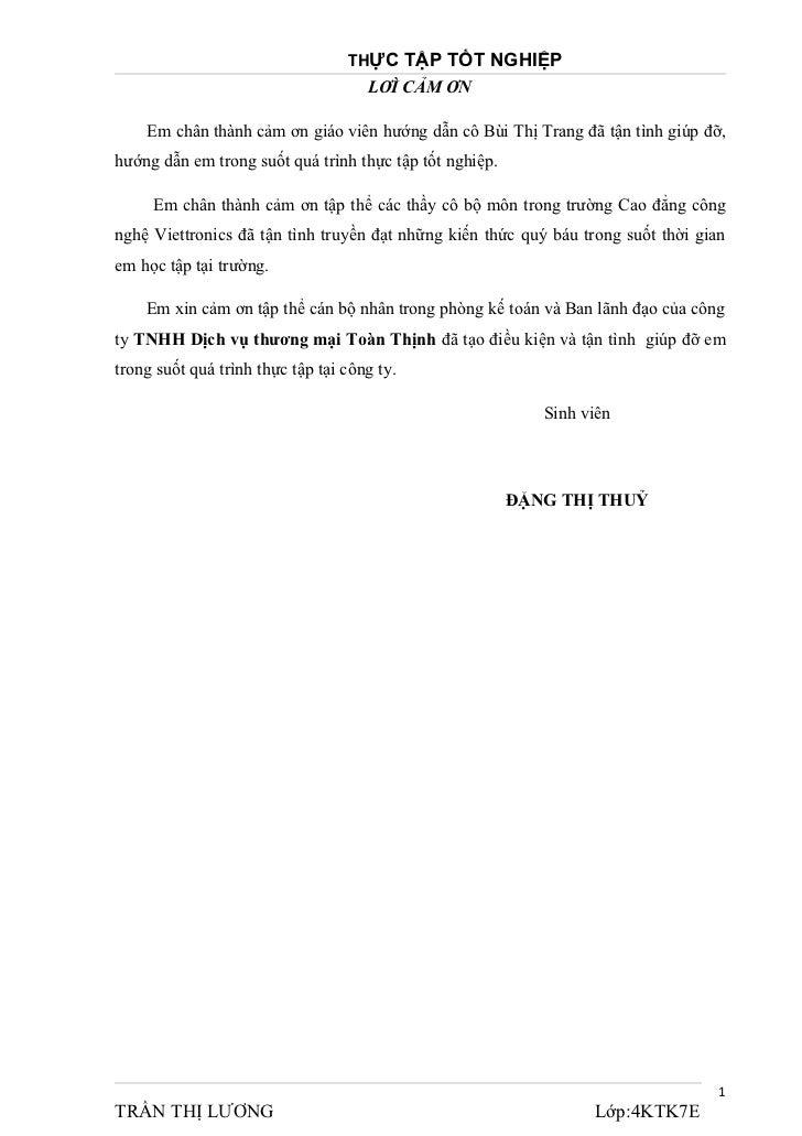 THỰC TẬP TỐT NGHIỆP                                     LƠÌ CẢM ƠN    Em chân thành cảm ơn giáo viên hướng dẫn cô Bùi Thị ...