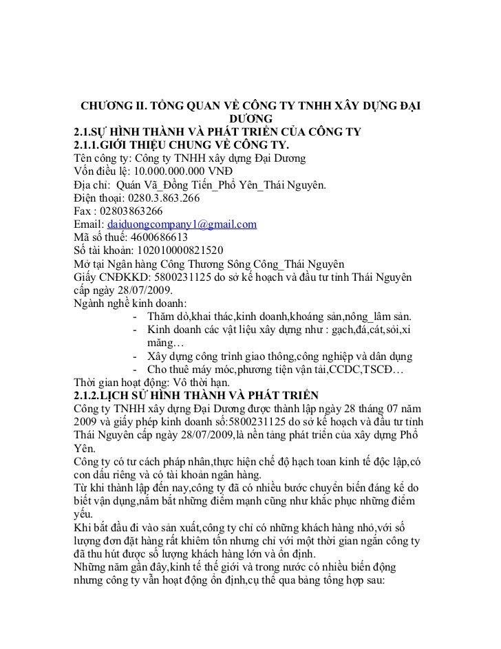 CHƯƠNG II. TỔNG QUAN VỀ CÔNG TY TNHH XÂY DỰNG ĐẠI                                  DƯƠNG2.1.SỰ HÌNH THÀNH VÀ PHÁT TRIỂN CỦ...
