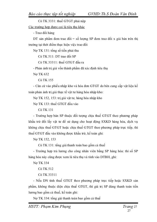 Báo cáo thực tập tốt nghiệp                    GVHD:Th.S Đoàn Văn Đính       Có TK 3331: thuế GTGT phải nộpCác trường hợp ...