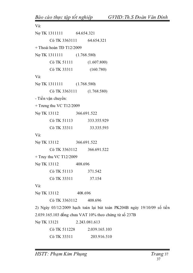Báo cáo thực tập tốt nghiệp                  GVHD:Th.S Đoàn Văn ĐínhVà:Nợ TK 1311111          64.654.321        Có TK 3363...