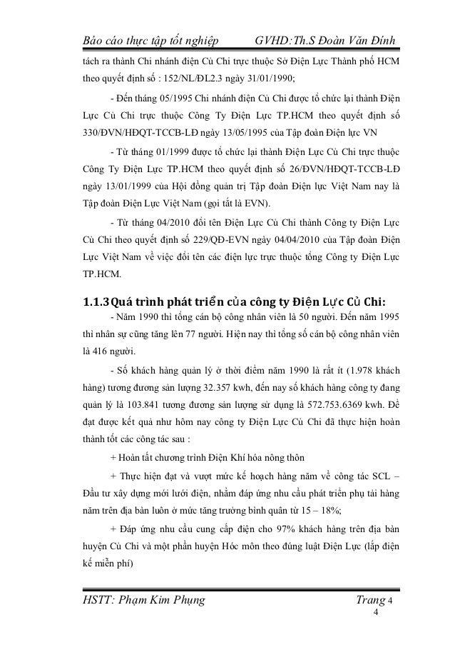 Báo cáo thực tập tốt nghiệp               GVHD:Th.S Đoàn Văn Đínhtách ra thành Chi nhánh điện Củ Chi trực thuộc Sở Điện Lự...