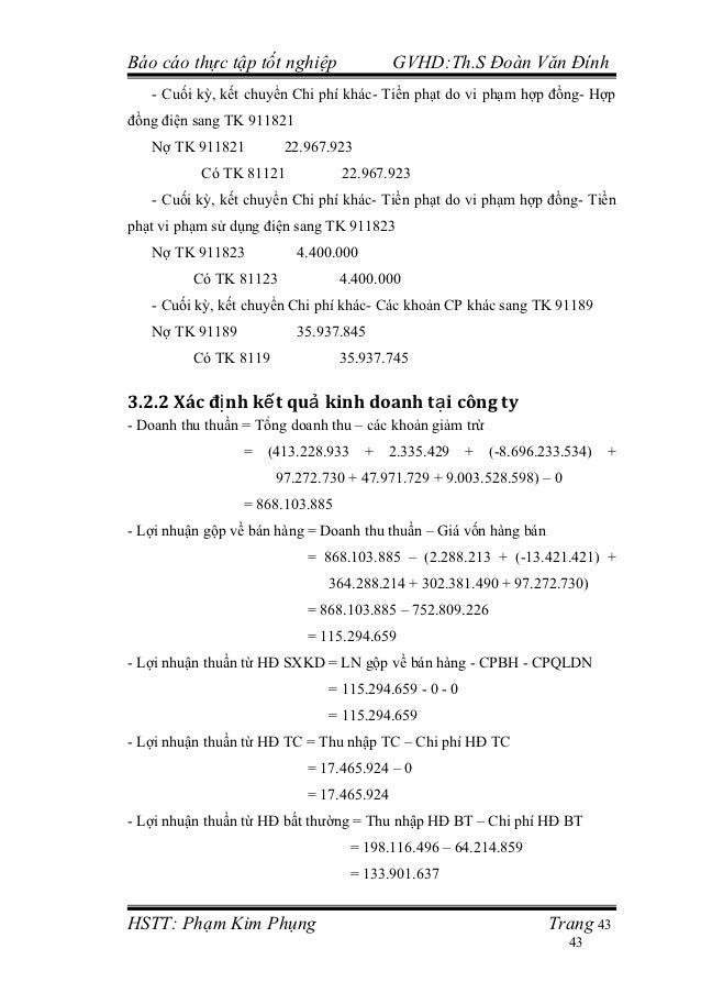 Báo cáo thực tập tốt nghiệp                GVHD:Th.S Đoàn Văn Đính   - Cuối kỳ, kết chuyển Chi phí khác- Tiền phạt do vi p...