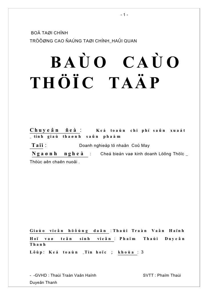 -1-    BOÄ TAØI CHÍNH TRÖÔØNG CAO ÑAÚNG TAØI CHÍNH_HAÛI QUAN       BA Ù O CAÙ O TH Ö Ï C TAÄ P  Chu y e â n           ñeà ...