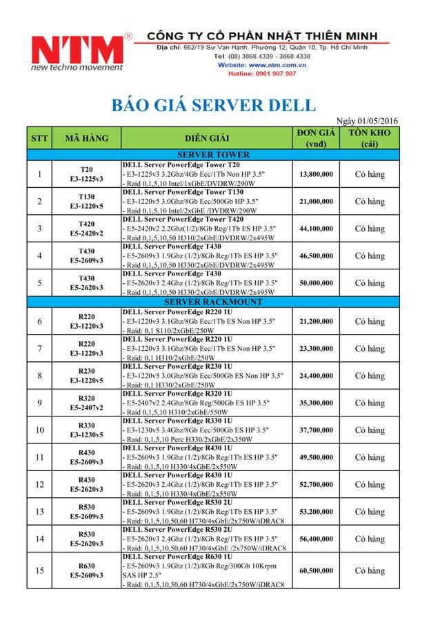 STT MÃ HÀNG DIỄN GIẢI ĐƠN GIÁ (vnđ) TỒN KHO (cái) 1 T20 E3-1225v3 DELL Server PowerEdge Tower T20 - E3-1225v3 3.2Ghz/4Gb E...