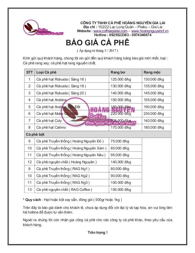 Báo giá cà phê ở các Lào Cai, chính thức từ tháng 5/2017