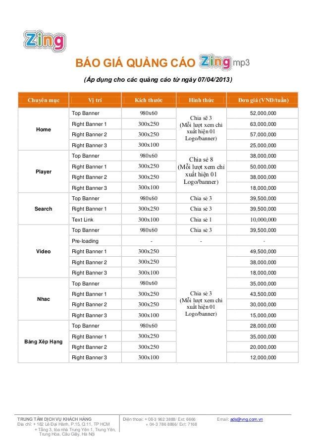 BÁO GIÁ QUẢNG CÁO(Áp dụng cho các quảng cáo từ ngày 07/04/2013)Chuyên mục Vị trí Kích thước Hình thức Đơn giá (VNĐ/tuần)To...