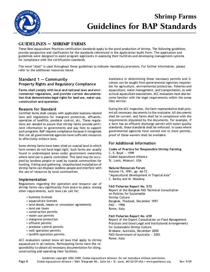 Best Aquaculture Practices Certification Standards Shrimp Farming f-9…