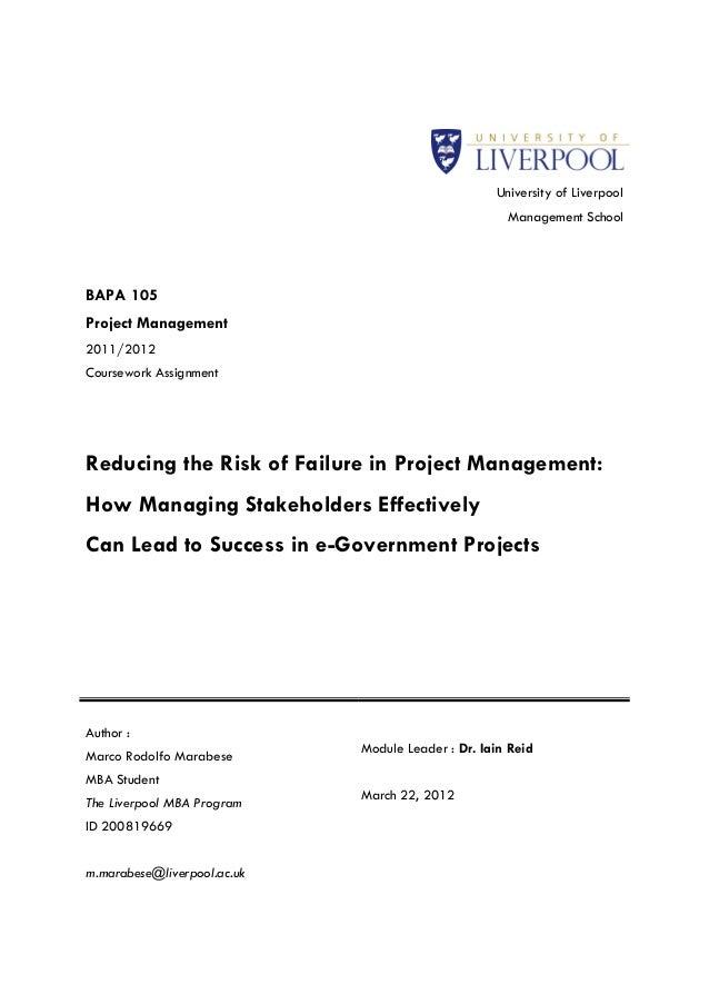 University of Liverpool                                                     Management SchoolBAPA 105Project Management201...