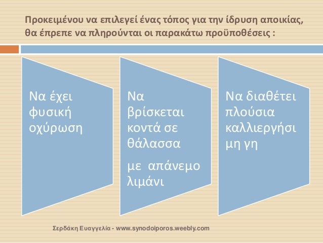 Προκειμένου να επιλεγεί ένας τόπος για την ίδρυση αποικίας, θα έπρεπε να πληρούνται οι παρακάτω προϋποθέσεις :  Σερδάκη Ευ...