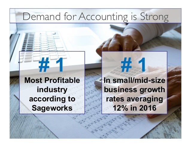 # 1 Most Profitable industry according to Sageworks # 1 In small/mid-size business growth rates averaging 12% in 2016 Dema...