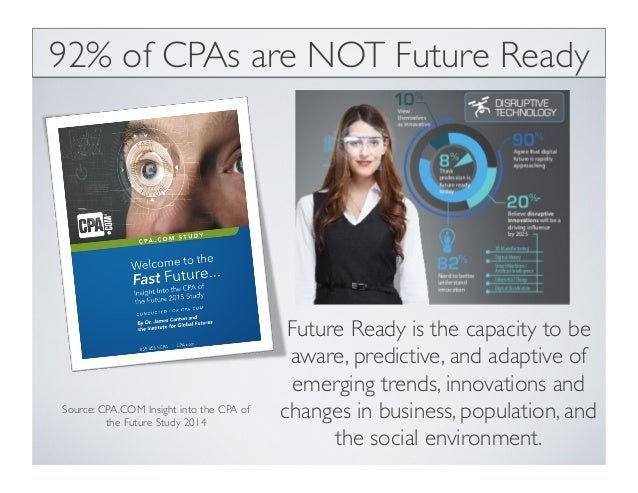 Source: CPA.COM Insight into the CPA of the Future Study 2014 92% of CPAs are NOT Future Ready Future Ready is the capacit...