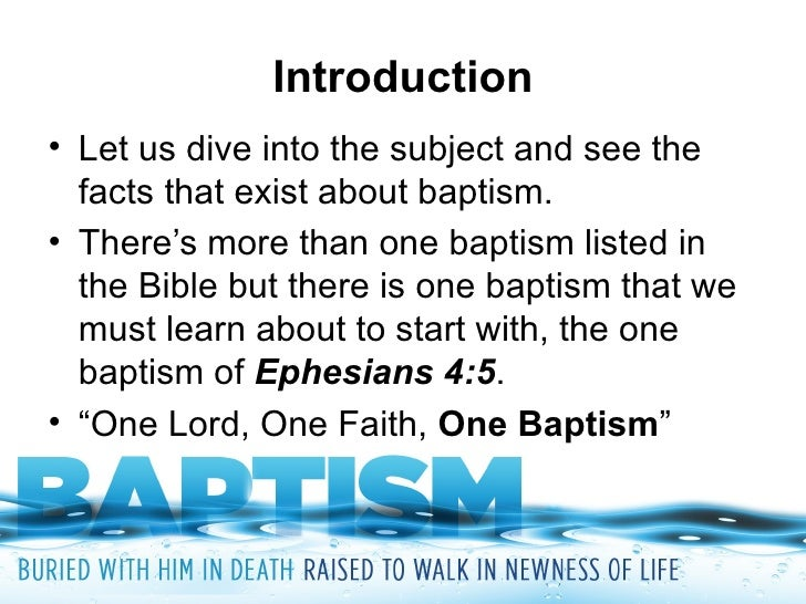 an introduction to the mythology of baptism Introduction baptism was the central rite in the ceremonies of initiation into the  christian church it required faith, and so was normally.