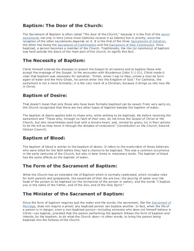 """Baptism: The Door of the Church: The Sacrament of Baptism is often called """"The door of the Church,"""" because it is the firs..."""