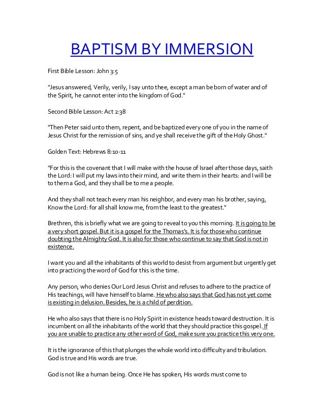 "BAPTISM BY IMMERSION First Bible Lesson: John 3:5 ""Jesus answered, Verily, verily, I say unto thee, except a man be born o..."