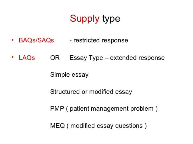 meq and essay International journal of health sciences, qassim university, vol 5, no 1, may 2011 45 evaluation of modified essay questions (meq) and multiple choice questions (mcq) as a tool.