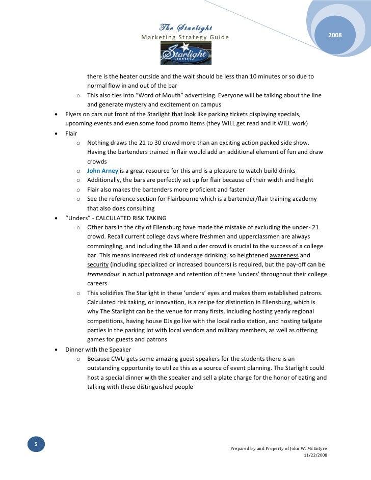 Bar Marketing Proposal