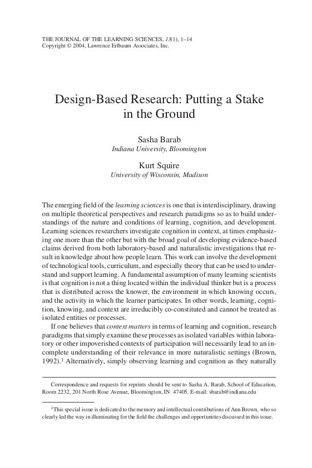 THE JOURNAL OF THE LEARNING SCIENCES, 13(1), 1–14Copyright © 2004, Lawrence Erlbaum Associates, Inc.     Design-Based Rese...