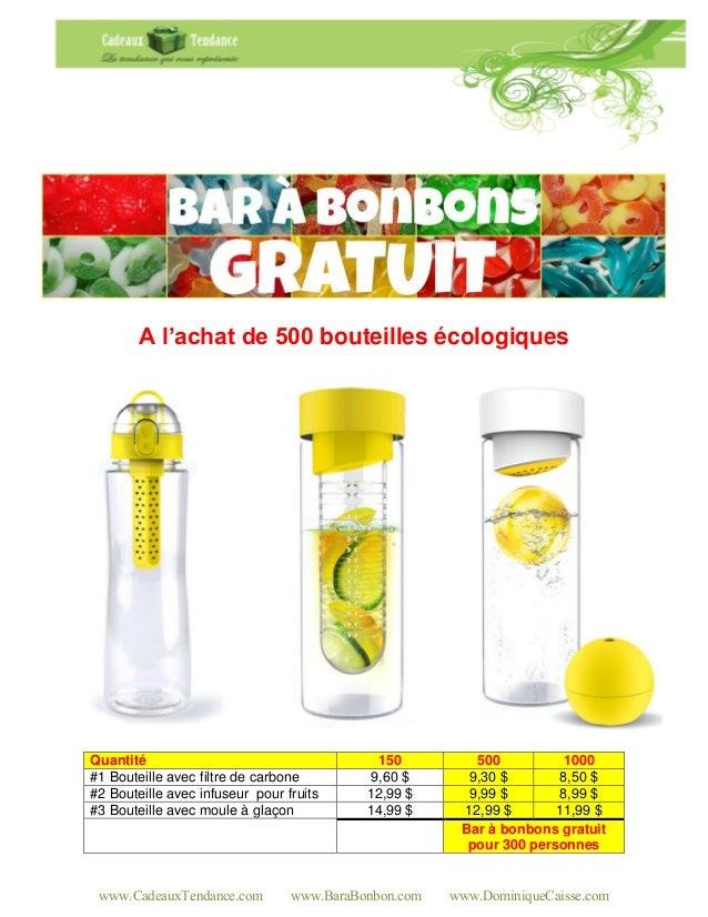 www.CadeauxTendance.com www.BaraBonbon.com www.DominiqueCaisse.comA l'achat de 500 bouteilles écologiquesQuantité 150 500 ...
