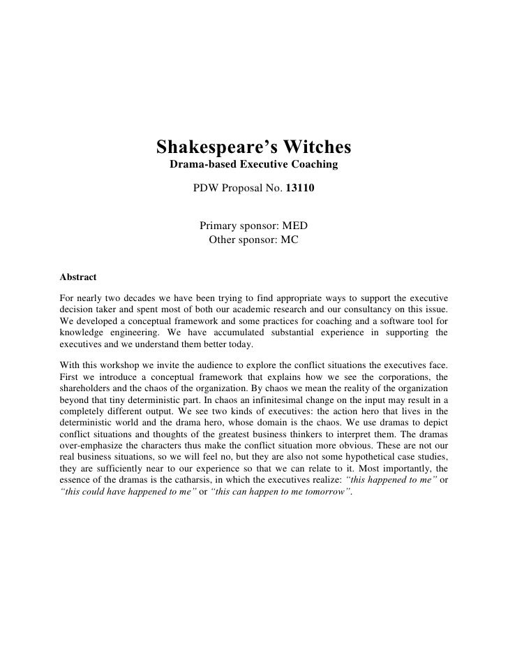 Shakespeare's Witches                            Drama-based Executive Coaching                                  PDW Propo...