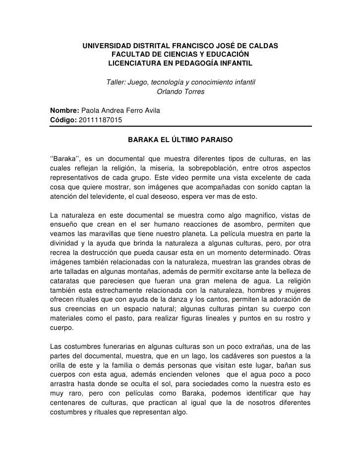 UNIVERSIDAD DISTRITAL FRANCISCO JOSÉ DE CALDAS                 FACULTAD DE CIENCIAS Y EDUCACIÓN                LICENCIATUR...