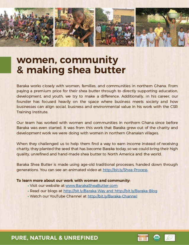 Baraka Shea Butter - Information Package
