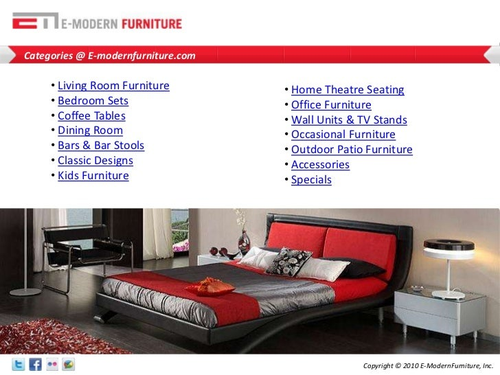 Categories @ E-modernfurniture.com<br /><ul><li>Living Room Furniture