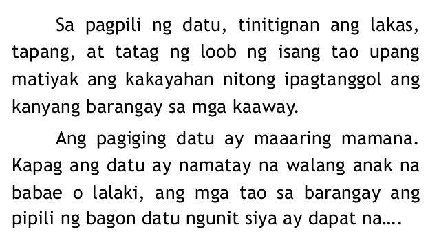 Ang dating ang pinuno ng pamahalaang Barangay noong