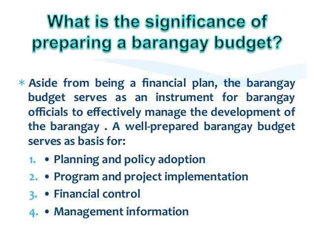 barangay budgeting Income and expenditure for budget year 2012 barangay baliwag municipality of baliwag program/project/activity personal maintenance capital outlay total.