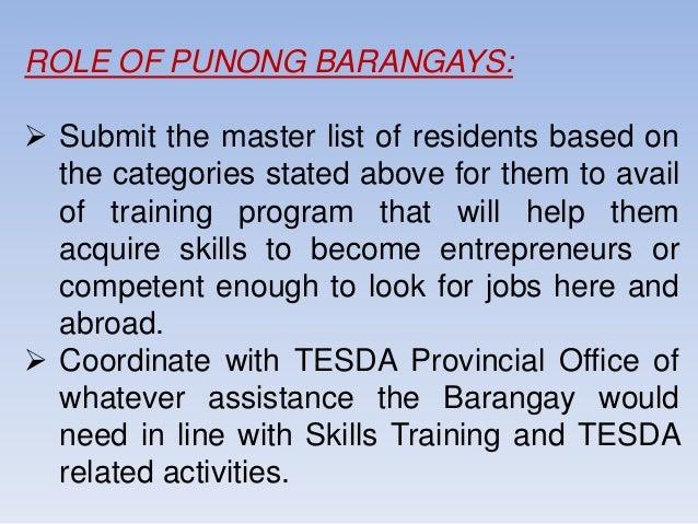 Barangay Skills Need Survey CY 2018
