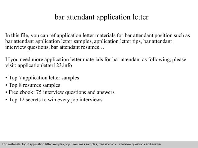 Perfect Bar Attendant Application Letter In This File, You Can Ref Application  Letter Materials For Bar ...