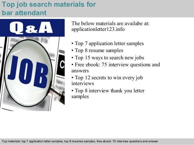 ... 5. Top Job Search Materials For Bar Attendant ...