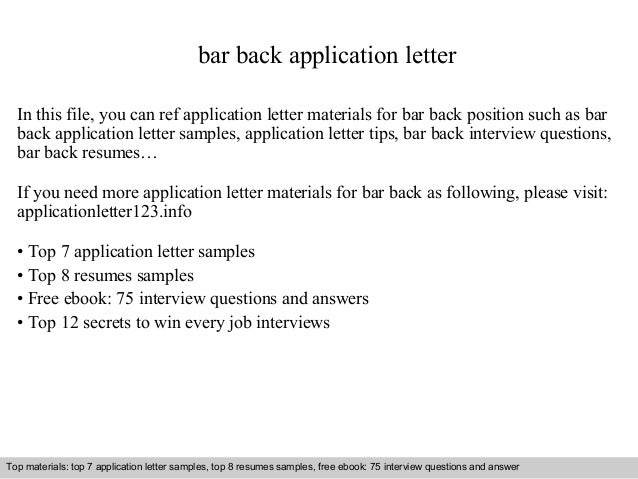 bar back application letter in this file you can ref application letter materials for bar