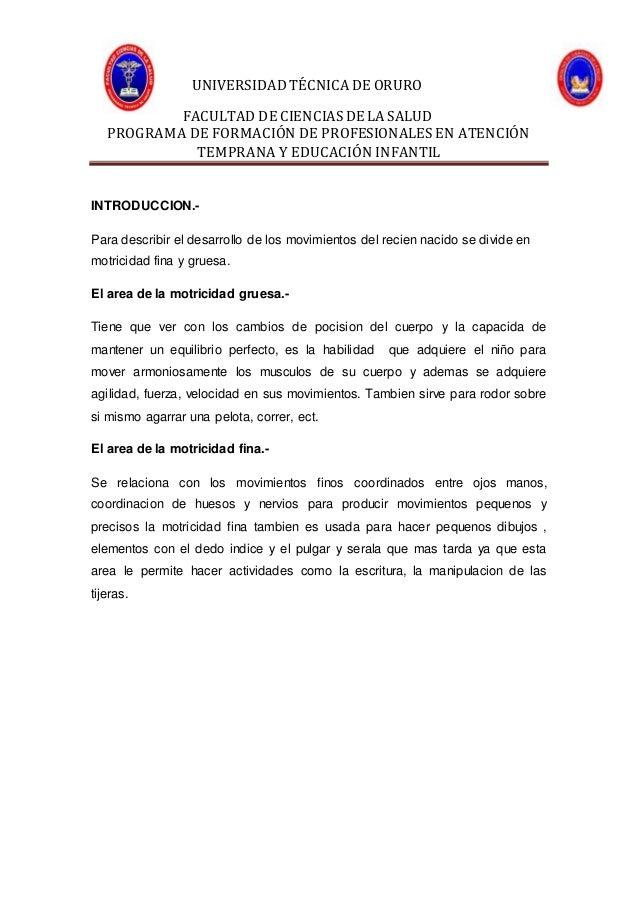 UNIVERSIDAD TÉCNICA DE ORURO FACULTAD DE CIENCIASDE LA SALUD PROGRAMA DE FORMACIÓN DE PROFESIONALES EN ATENCIÓN TEMPRANA Y...