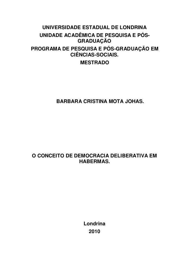 UNIVERSIDADE ESTADUAL DE LONDRINA  UNIDADE ACADÊMICA DE PESQUISA E PÓS-              GRADUAÇÃOPROGRAMA DE PESQUISA E PÓS-G...
