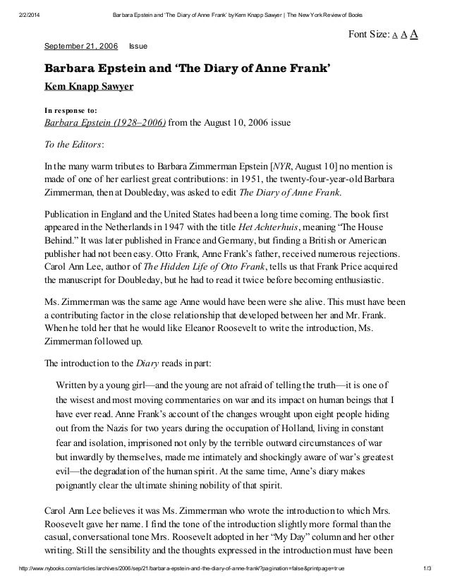 diary anne frank book review essay Diary of anne frank essay the most moving and her family began in the book show, with anne frank born in a work external links aug 04.