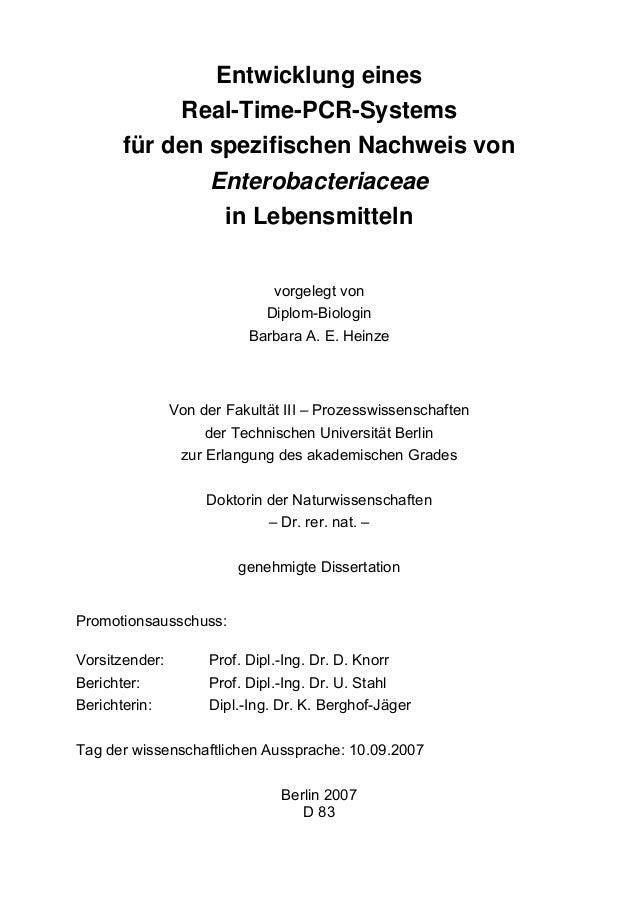 Entwicklung eines Real-Time-PCR-Systems für den spezifischen Nachweis von Enterobacteriaceae in Lebensmitteln vorgelegt vo...