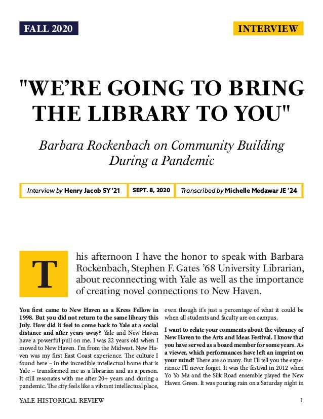 """INTERVIEW """"WE'RE GOING TO BRING THE LIBRARY TO YOU"""" Barbara Rockenbach on Community Building During a Pandemic Interview b..."""